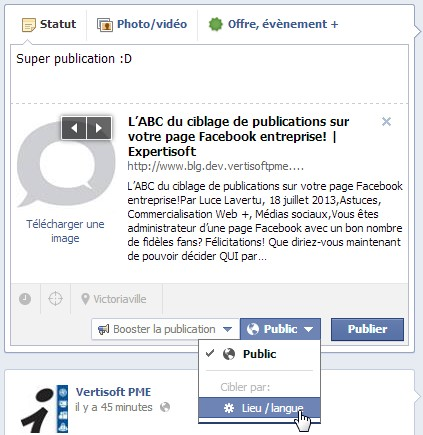 Publication Facebook publique