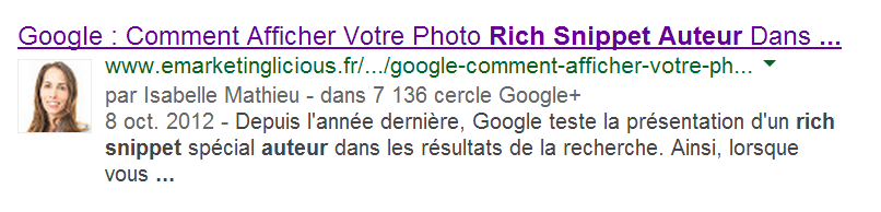 Auteur d'un article Rich Snippet